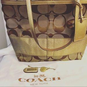 Gold/khaki Coach tote, classic C's
